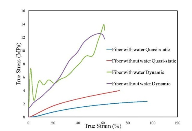 Comparison of True Stress vs. True Strain curves of fiber hydrogel under dynamic compression