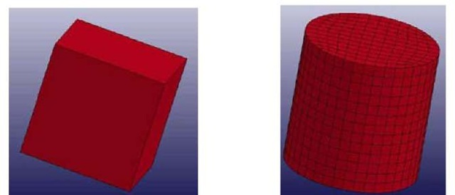 Finite element models - 1 mm single element [L] and 25 mm diameter cylinder [R] (not to scale)
