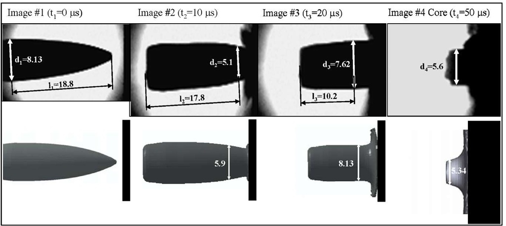 A comparison of projectile side view impact and numerical simulation of an MSC Bullet traveling at 562 m/s and impacting a hardened steel plate (all dimensions in mm)