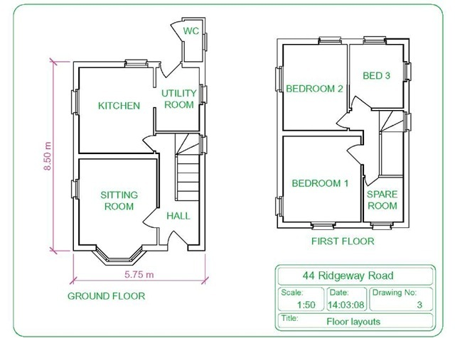 Building drawing part 1 autocad 2011 for House drawing plan layout