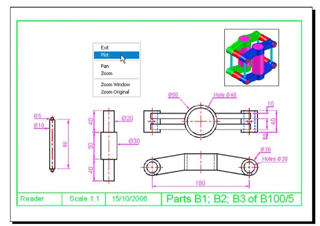 Isometric Drawing Exercises moreover Autocad Mechanical Drawing Exercises Pdf together with Hatching Part 1 Autocad 2011 further Solidworks 3d drawings furthermore Isometric To Orthographic Views. on orthographic and isometric part 1 autocad 2011