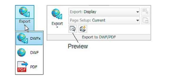 The Output/Export to DWF/PDF panel