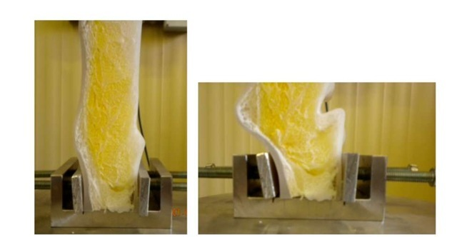 Deformation pattern typically observed by the foam core sandwich panel in the edgewise compression test
