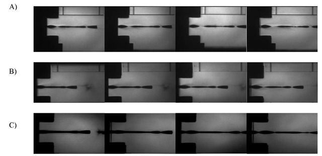 High speed photography of Zr specimens extruded in the following test conditions: A) 534 m/s, in-plane direction, 25°C; B) 535 m/s, through thickness direction, 25°C; and C) 602 m/s, through thickness direction, 250°C.
