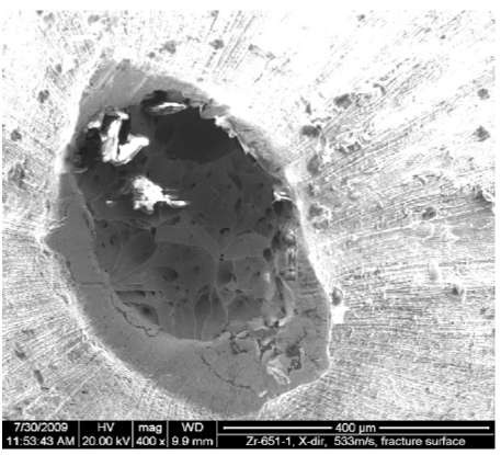 SEM image of the fracture surface of an extruded specimen