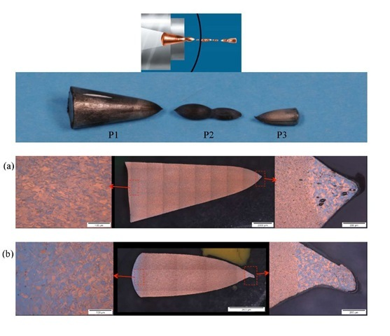 Optical images of the IP, 421m/s, 25°C extrusion. The microstructure of the (a) segment left in the die and (b) the first fully extruded piece display deformed grains in region 1, elongated grains in region 2, and recrystallization in region 3.