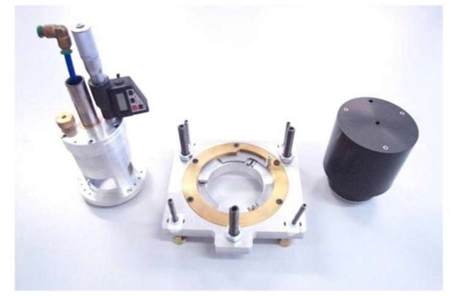 The set used for in-field residual stresses measurement. Left: hole drilling unit; central: universal base and right: optical measurement module.