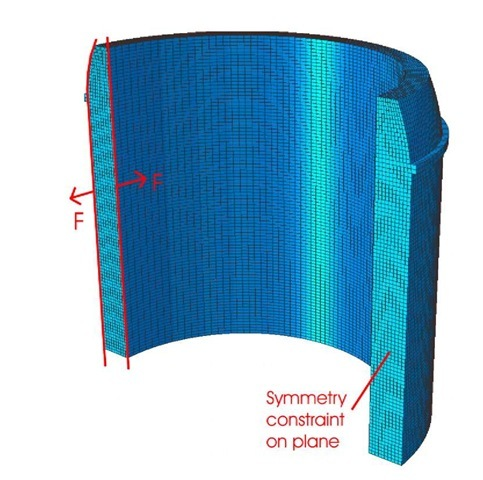 Finite element calculation of bending moment stresses. Contour method cut and discontinuity