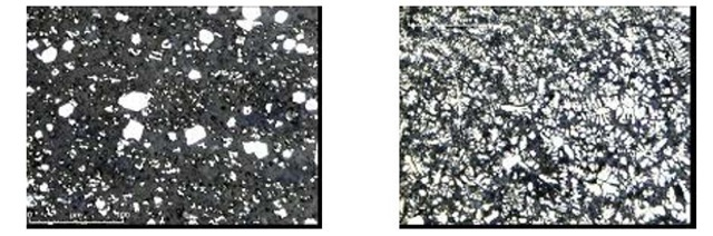 Evolution of the microstructure of TiB2-RSMCs specimens in base metal (left) and weld bead (right)