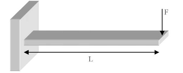 Schematic of a cantilever and the applied load. With this controlled loading environment, the cantilever deflection can easily be modelled according to equation 5 below.