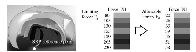 Set of surfaces determining zones of occurrence of constant forces of the right arm against the external surface of the arms' reach