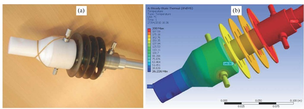 Thermal isolating connection for separation of MAF rig and load cell: (a) photograph of thermal isolator including heat exchanger and polymer isolator; (b) temperature contour map over thermal isolator predicted using FEA