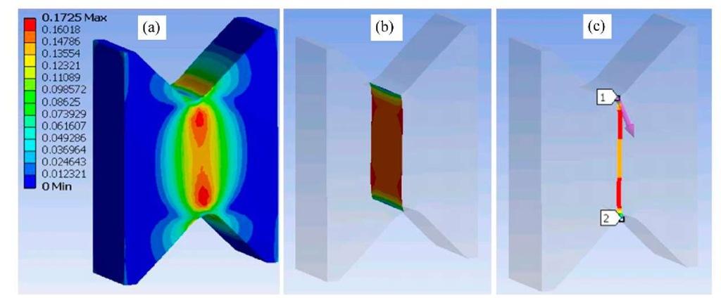 Nonlinear FEA results: (a) shear strain distribution; (b) gauge section shear strain distribution; (c) defined gauge line on external specimen surface of FEA model