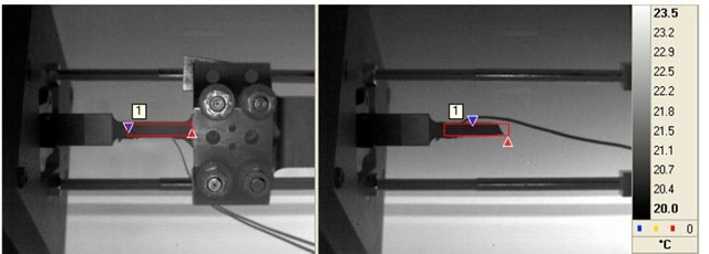 Full window images of steel specimen before and after test