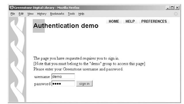 authentication in Greenstone