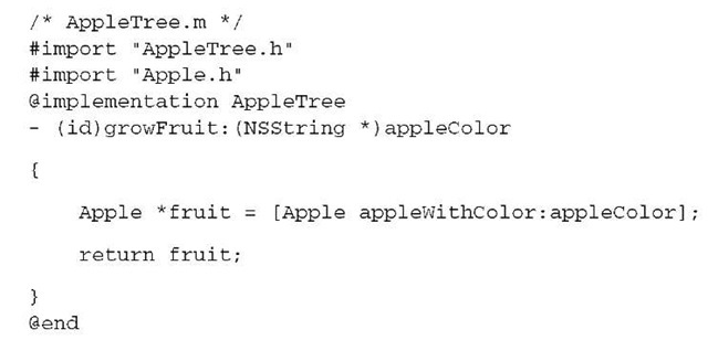 Listing 2.2 Implementation file for the AppleTree class