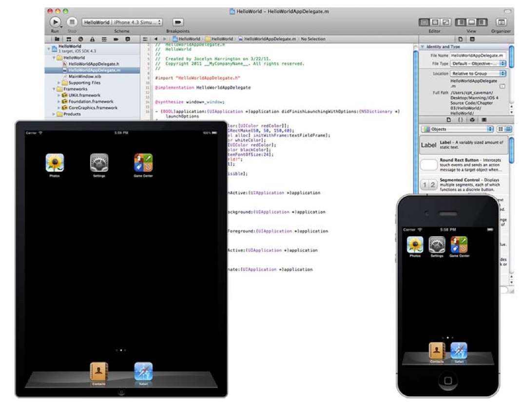 The SDK includes Xcode (top) and two instances of the iOS Simulator, running in iPad mode (bottom left) and iPhone mode (right).