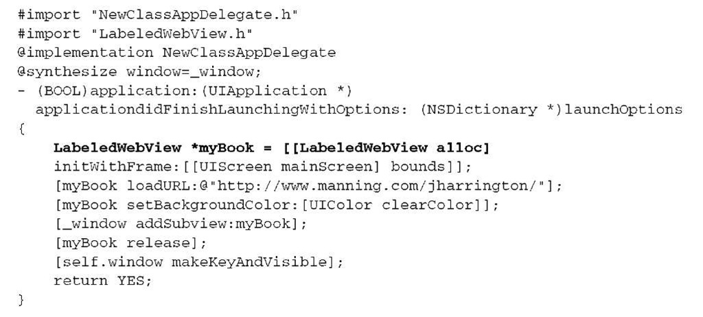 Listing 4.3 Using the new class in the app delegate file
