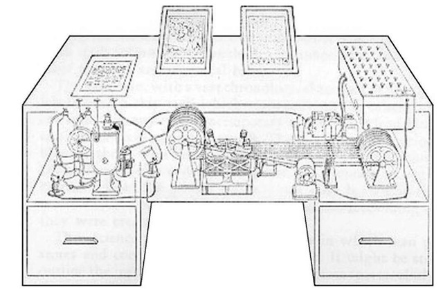 Artist's conception of the Memex, Bush's automated library.