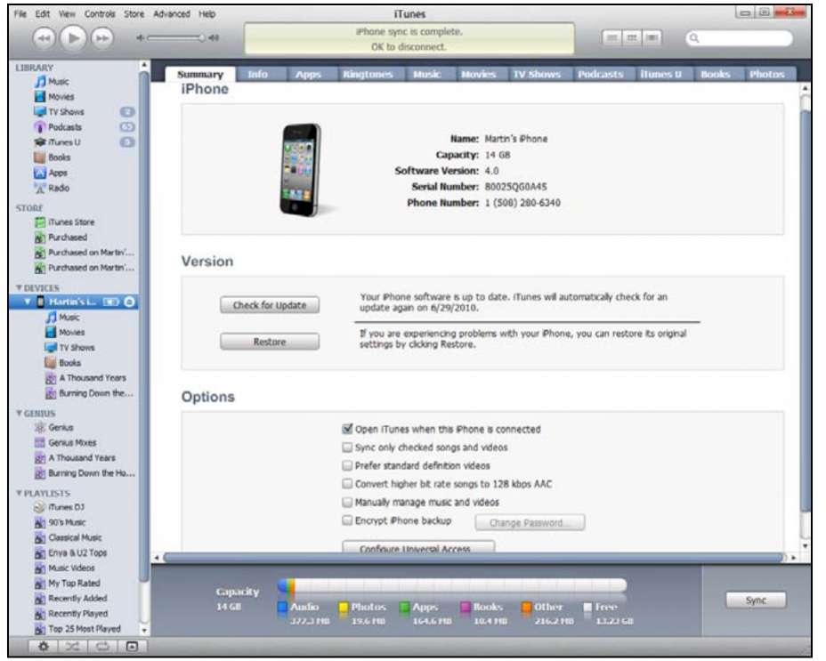 how to connect to itunes with iphone 4