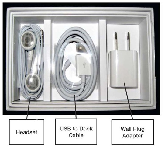 The headset, USB cable, and wall plug adapter in the bottom of the box.