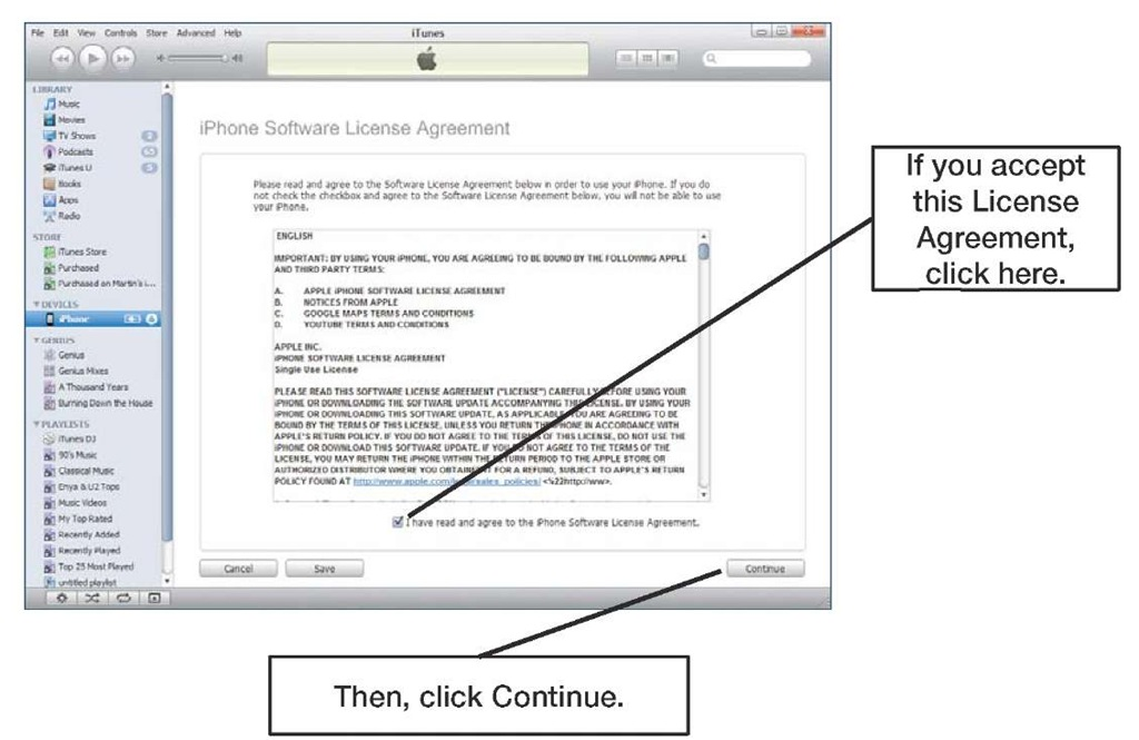 iPhone first time setup License Agreement screen