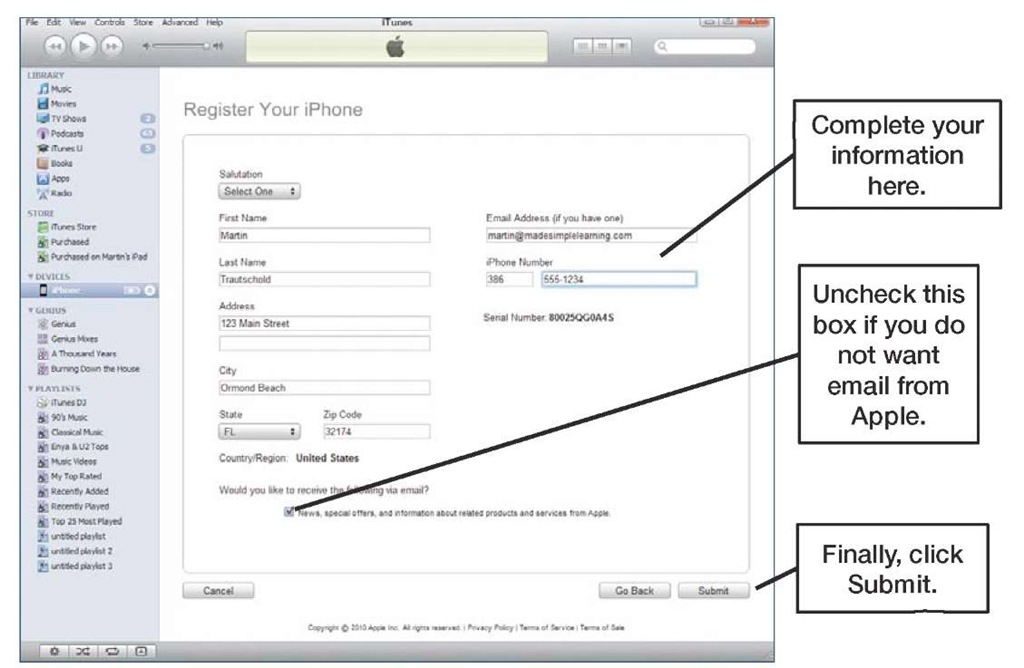 iPhone Registration screen, without an Apple ID