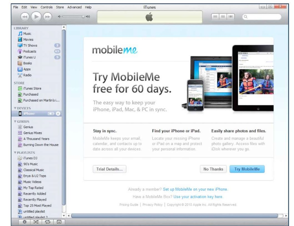 iTunes MobileMe ad page (usually appears after registering your iPhone)