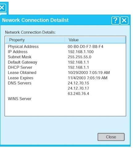 TCP/IP configuration information