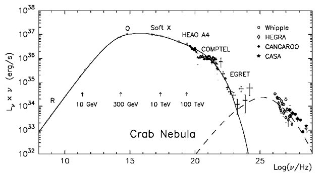Nonthermal radiation of the Crab Nebula from radio to very high energy 7-rays. The solid and dashed curves correspond to the synchrotron and inverse Compton components of radiation, respectively, calculated in the framework of the spherically symmetric MHD wind model. The vertical arrows indicated the ranges of characteristic frequencies of synchrotron photons emitted by electrons of different energies.
