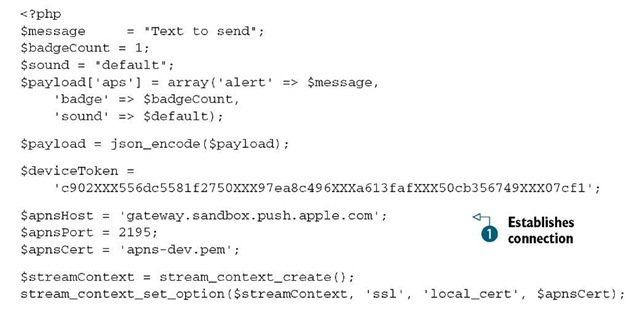 Listing 17.2 PHP code to send a push notification