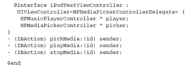 Listing 12.1 iPodSampleViewController.h