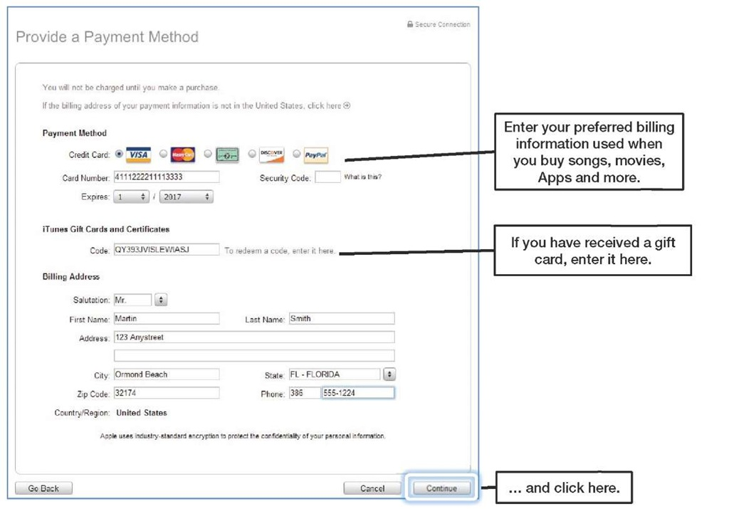 itunes how to delete credit card information