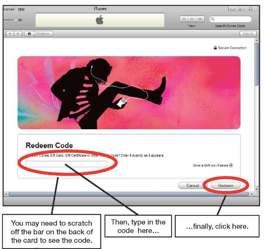 Redeeming an iTunes Gift Card (iPhone 4)