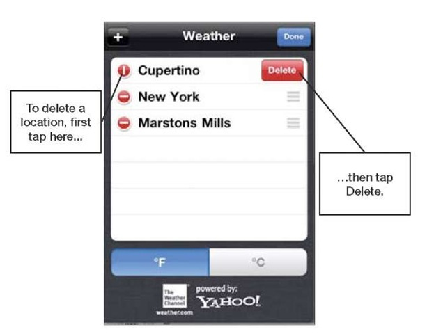how to delete weather locations on iphone