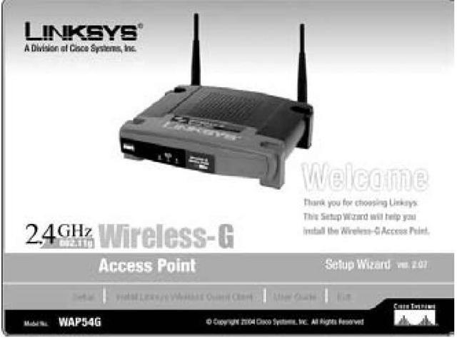 The Linksys Wireless-G Access Point Setup Wizard.