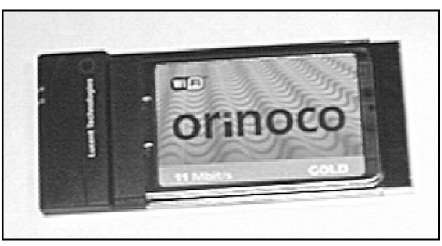 A PC Card wireless network interface adapter.