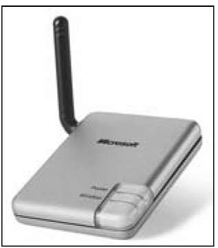 A wireless network adapter that attaches to a computer's USB port.