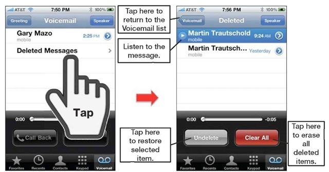 Working with deleted voicemail items.