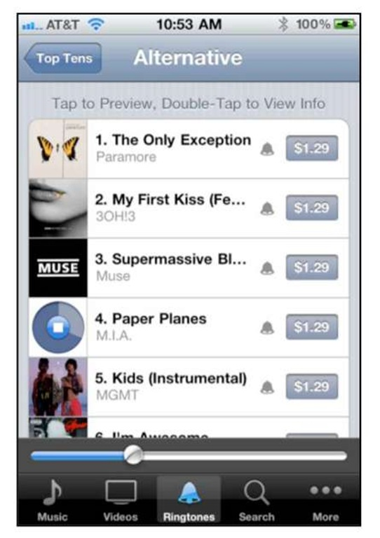 purchasing a ringtone from the itunes app iphone 4