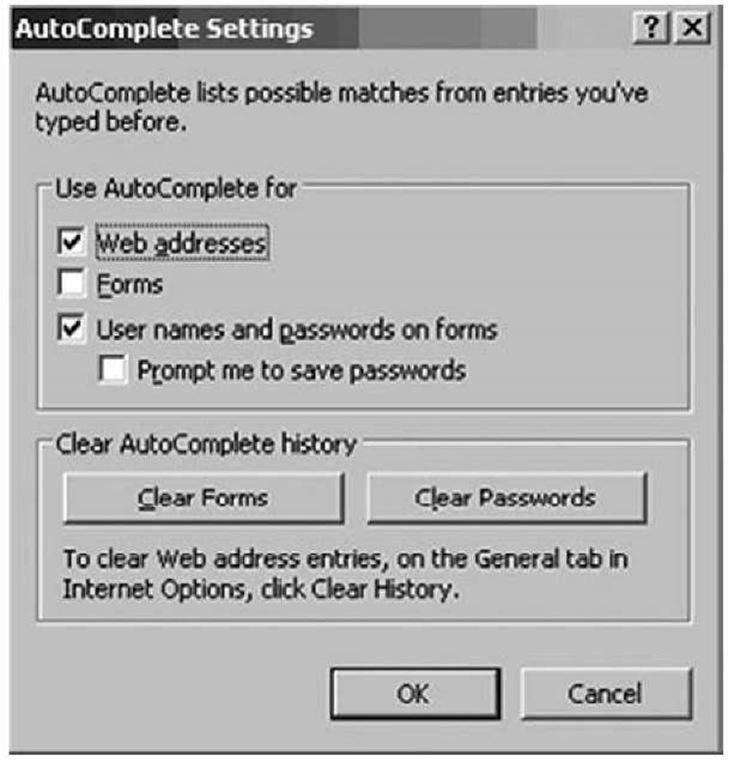 AutoComplete Settings Dialog Box on Internet Explorer 6.0