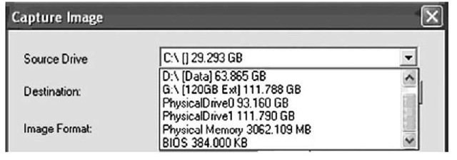 Excerpt of the Capture Image Dialog Box from ProDiscover IR