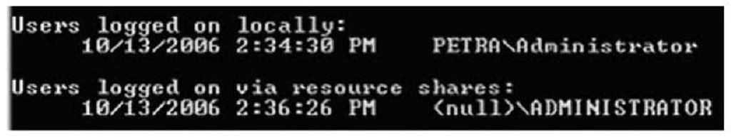 Output of psloggedon.exe on Windows 2000