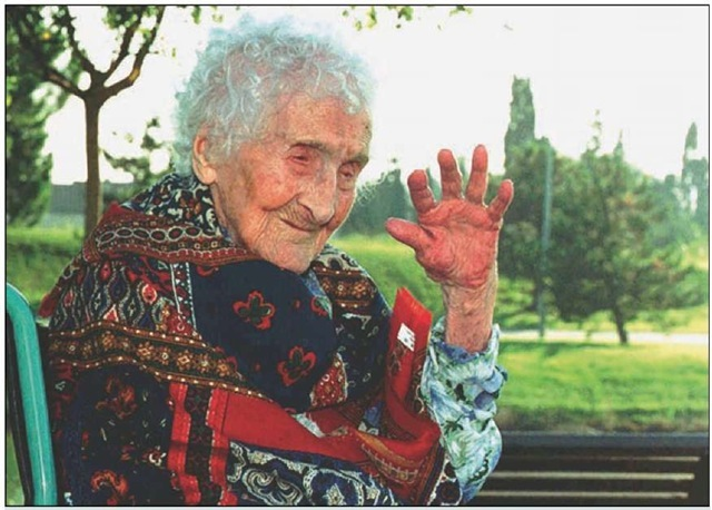 Jeanne Calment, believed to be the world's oldest person, died August 4, 1997, at the age of 122 in her nursing home in Arles, southern France.