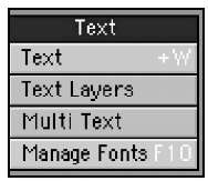 The Text tool category is where you'll find the Manage Fonts command, Text Layers, Multi Text tool, as well as the Text creation tool.