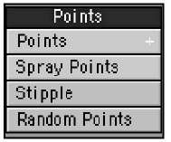 The Points category offers tools to create single points or clusters of points. Points, as you know, make up objects.