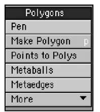 The Polygons category offers polygonal creation tools.