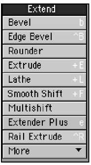 The Extend category of tools within the Multiply menu tab offers tools to add to your objects or selections, such as bevel tools.