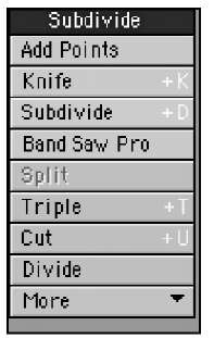 The Subdivide tools enable you to break up your model for added detail and animation control.