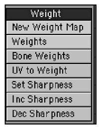 To control weights in LightWave Modeler, head on over to the Map tab's Weight tools.